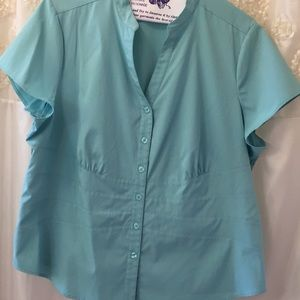 Style & Co. Blue Fitted Short Sleeve Top